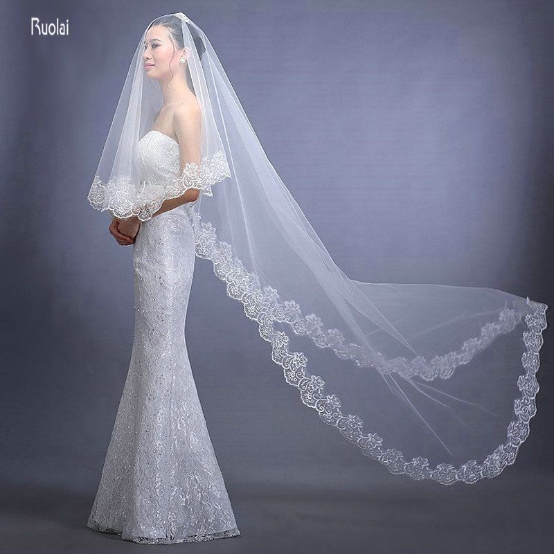 3M Long Cheap Modest 2016 Wedding Veils Long Veil With Lace Edge Bridal Veils Beauty One Layer Long Cathedral For Wedding