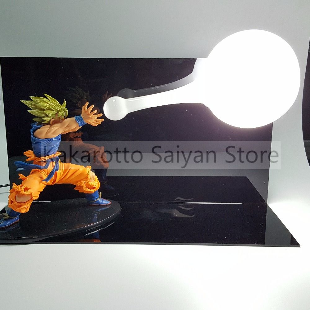 Dragon Ball Z Son Goku Figure Super Saiyan Kamehameha Anime Dragon Ball Z Action Figures Model Toy DBZ +Bulb+Base