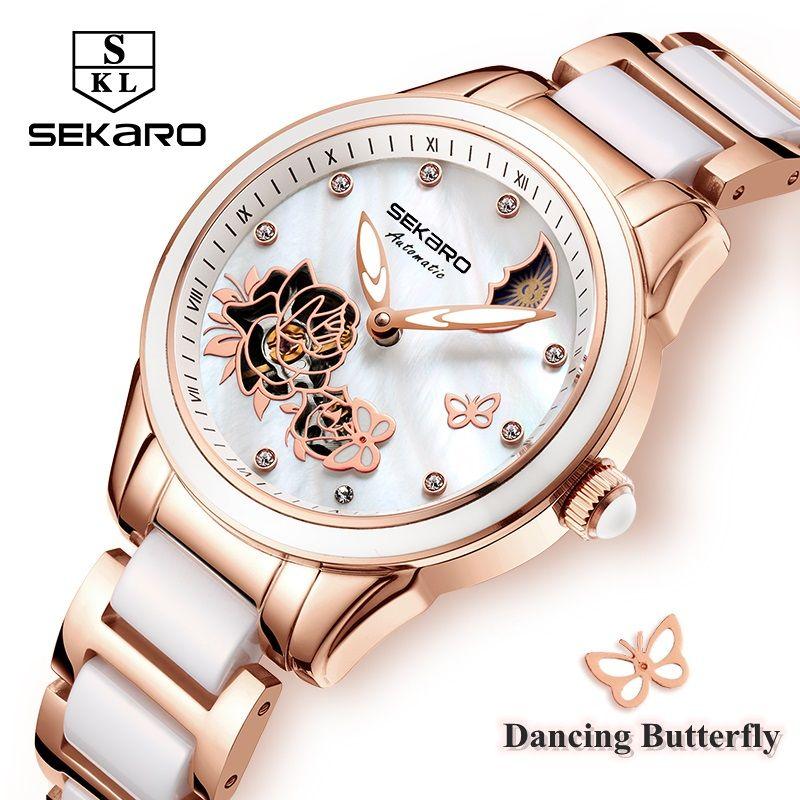 Sekaro Women Ceramic Clock Butterfly Design Women's Mechanical Watch Top Brand Luxury Women Sapphire Crystal Female Watches Gift