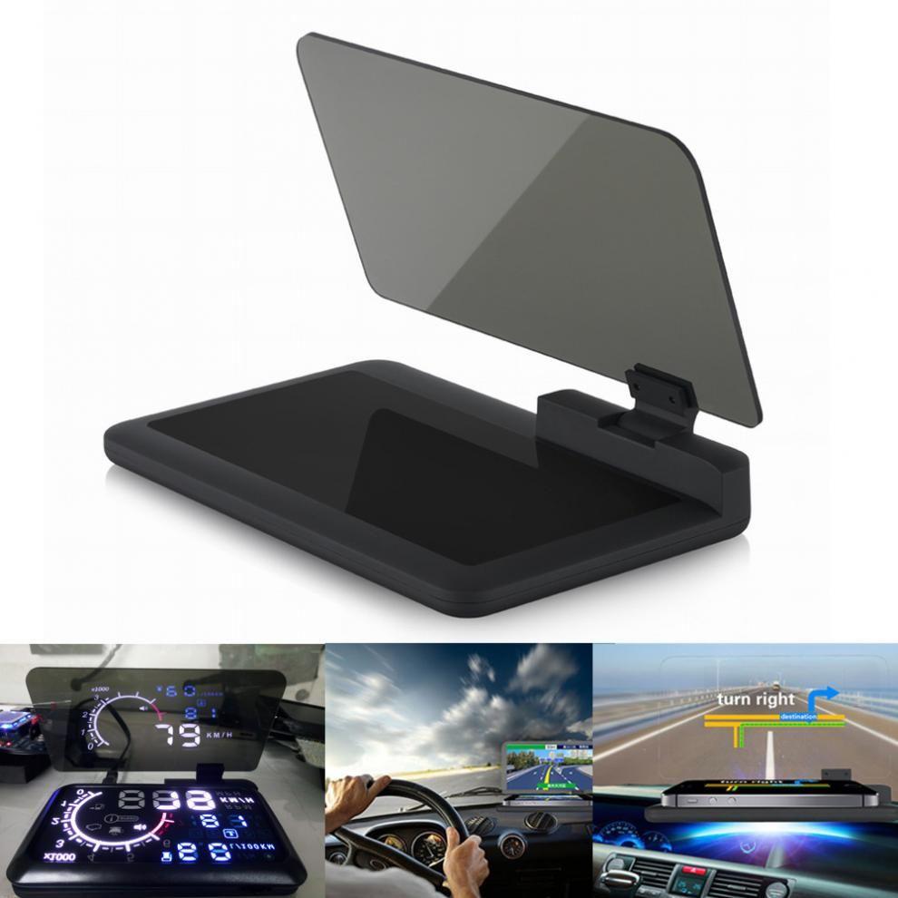 H6 Universal Car Voiture GPS Navigator Smartphone HUD Head Up Display Holder with Transparent Reflection Film Black Non-slip Mat