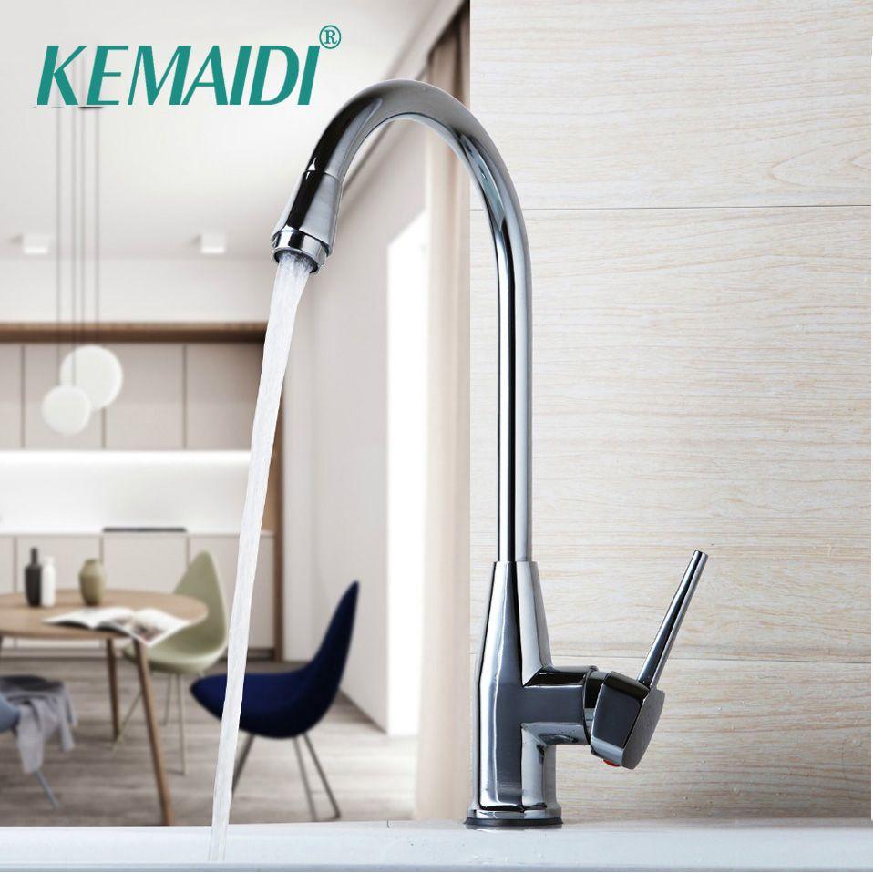 KEMAIDI New Waterfall Mixer Stainless Steel Faucet cozinha torneira Kitchen Mixer Tap <font><b>Chrome</b></font> Polished 360 Swivel Kitchen Faucet
