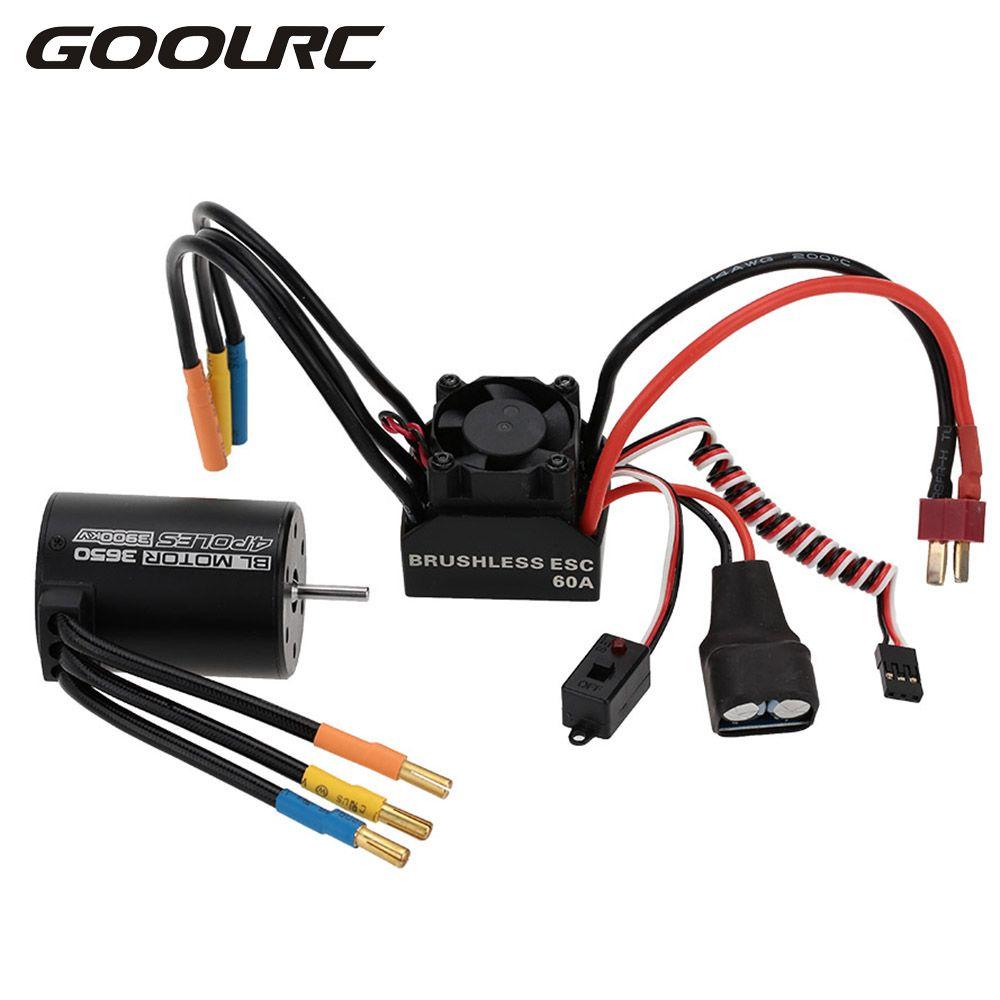 GOOLRC Aluminum Metal 3650 3900KV 4P Sensorless Brushless Motor 60A Brushless ESC with 5.8V/3A Switch Mode BEC for 1/10 RC Car