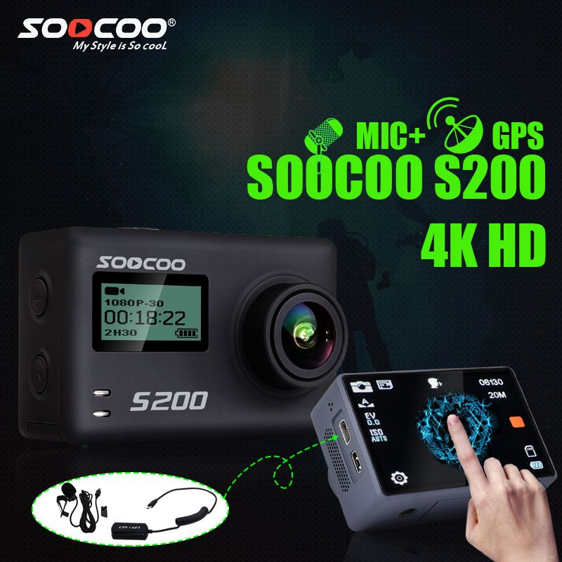 SOOCOO S200 Action Camera Ultra HD 4K NTK96660 + IMX078 with WiFi Gryo Voice control external mic GPS 2.45
