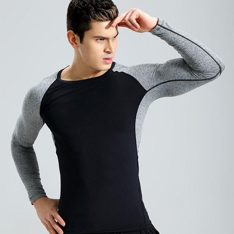 LoRun Printed Long Sleeves Running Shirt Men Quickly Dry Compression Fitness Jerseys Tights Sports Suit Rashgard Gym Shirt 4XL