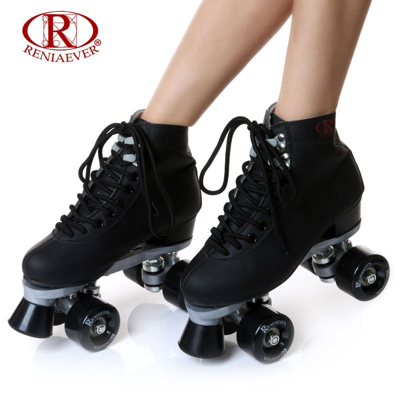 RENIAEVER Roller Skates Double Line Skates Black Women Female Lady Adult With Black PU 4 Wheels Two line Skating Shoes Patines