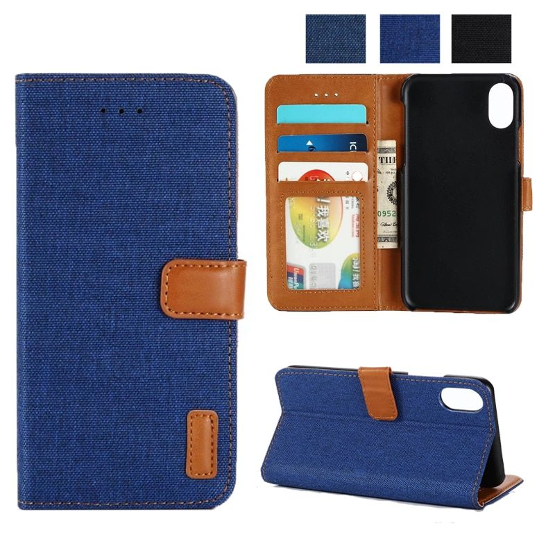 Luxury Magnetic Flip Retro Denim Case For iPhone 8 Card Slots For iPhone X/7/8 Plus Stand Wallet Cover