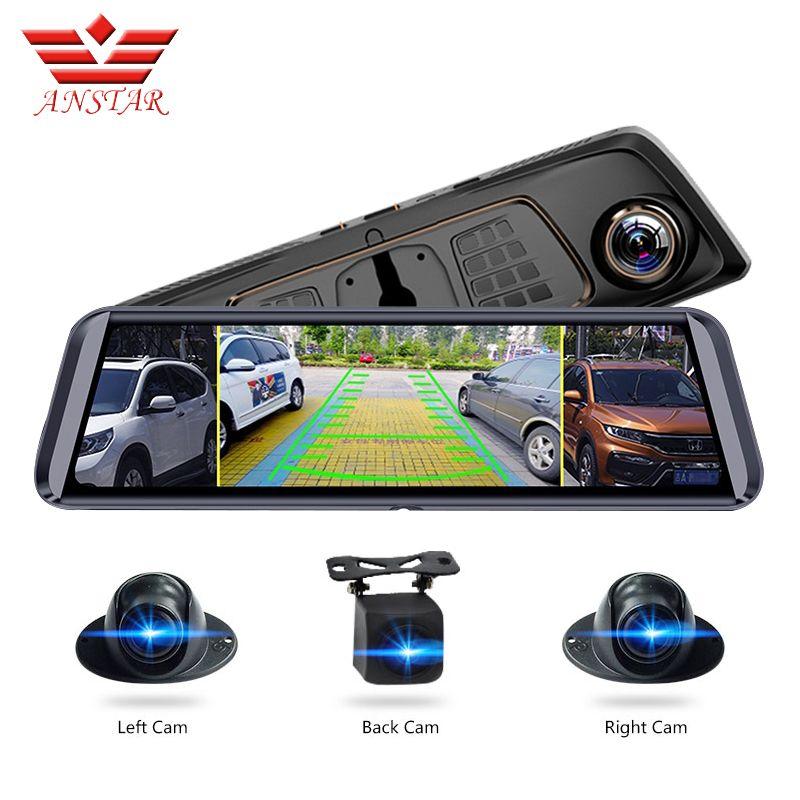 ANSTAR 10''Screen ADAS Auto DVR Mit 4 Kameras 4G FHD1080P Media Rückspiegel 360 Grad Blind Zone Spiegel Recorder dash Cam