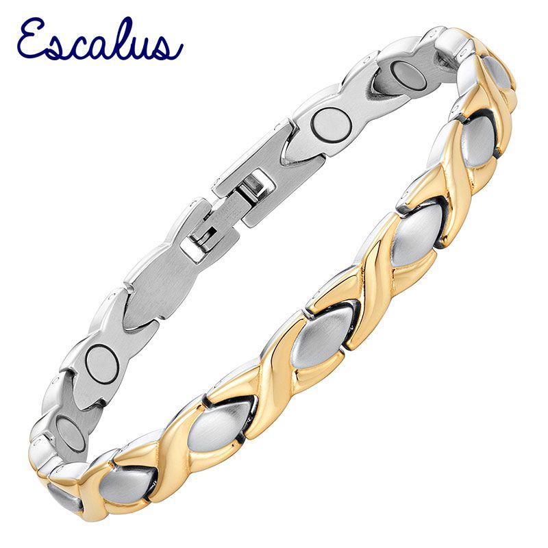 Escalus 2018 Classique Croix Magnétique Bracelet Pour Femmes Guérison En Acier Inoxydable Or Couleur Charme Bracelet De Mode Cadeau Bijoux