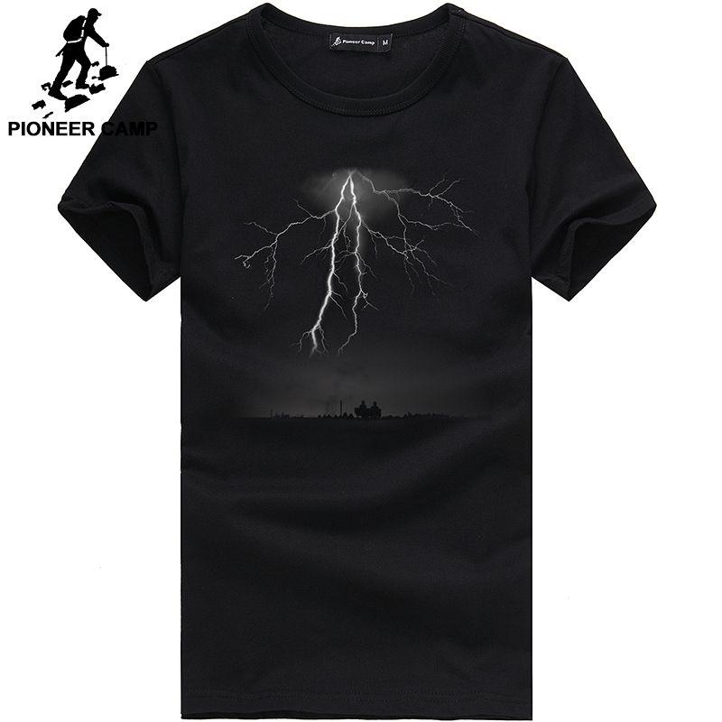 Pioneer Camp Lightning Printed T-Shirt Men Black T Shirt Mens Fashion men T Shirts Casual <font><b>brand</b></font> Clothing Cotton 3D Tshirt 405043