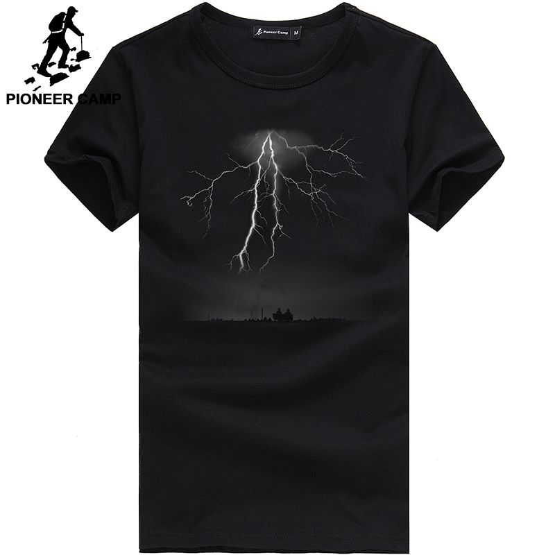 Pioneer Camp <font><b>Lightning</b></font> Printed T-Shirt Men Black T Shirt Mens Fashion men T Shirts Casual brand Clothing Cotton 3D Tshirt 405043