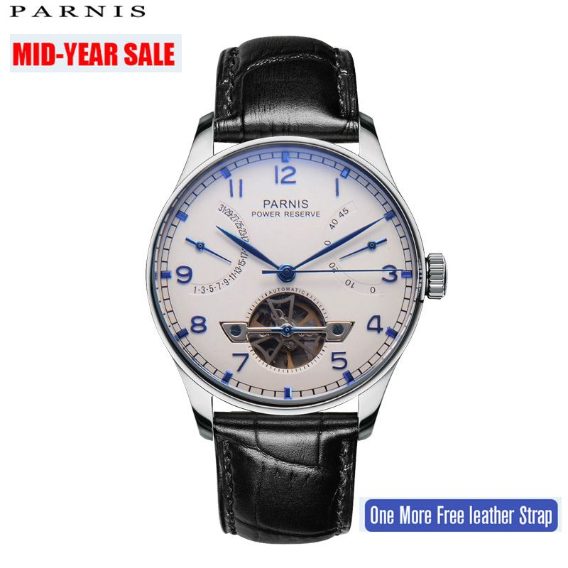 43mm Parnis Skeleton Watch Automatic Watch PVD Case Men Sea Gull Power Reserve Tourbillon Mechanical Watches Men Gift