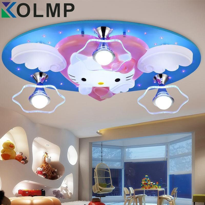 Newest Hello Kitty Cat LED Ceiling Lights Fixture Cute Girls Bedroom Ceiling Lamps Kids Child Cartoon Living Room Light 220v