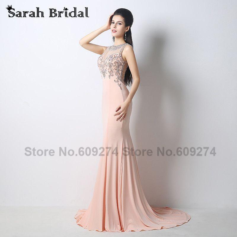 Blush Formal Mermaid Evening Dresses 2015 New Handmade Beaded Backless Party Guest Evening Gown Vestido De Festa Longo HY014
