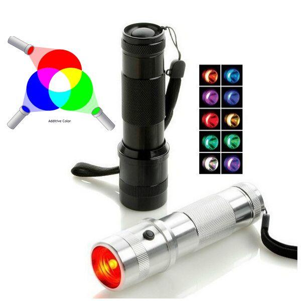 Rainbow RGB Flashlight Color shine LED Changing Color Light 3W Aluminium Alloy Edison Multicolor Rainbow 10 Color Lighting Torch