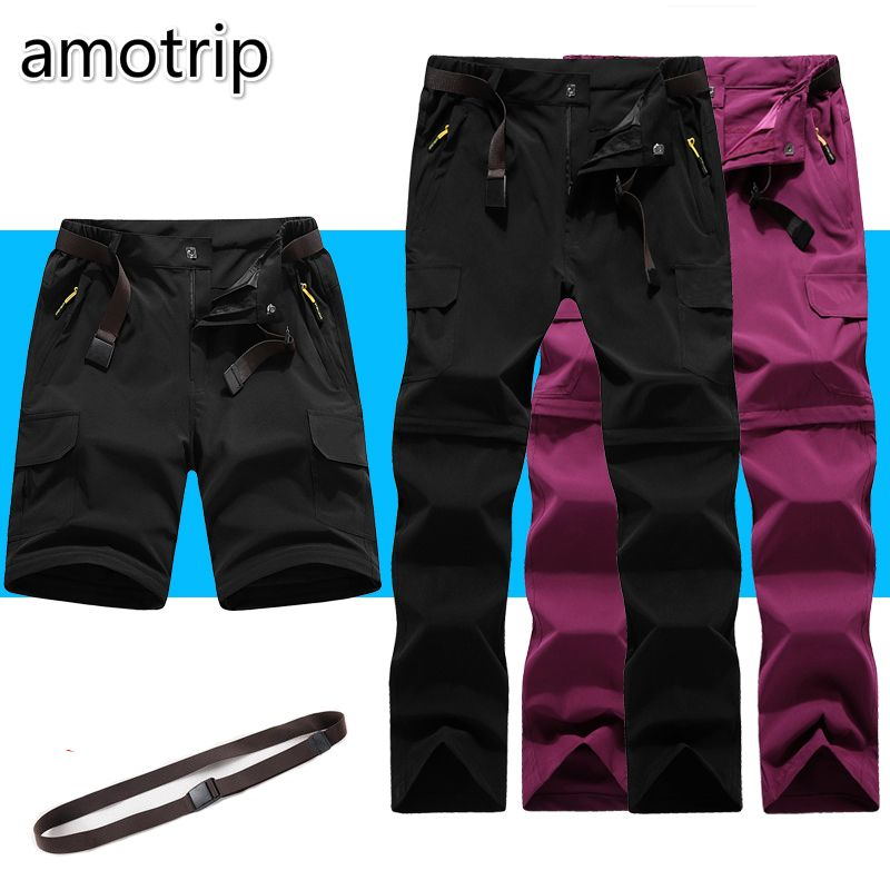 Amotrip Outdoor Summer Men Women Sports Quick Dry Pants Camping Climbing Trekking Hiking Pants Removable Thin Breathable Trouser