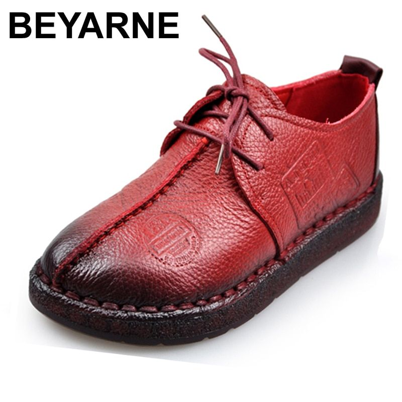 Fashion Retro Hand-Sewing Shoes Women Flats Genuine Leather Soft Bottom Women Shoes Soft Comfortable Casual Shoes Woman Loafers