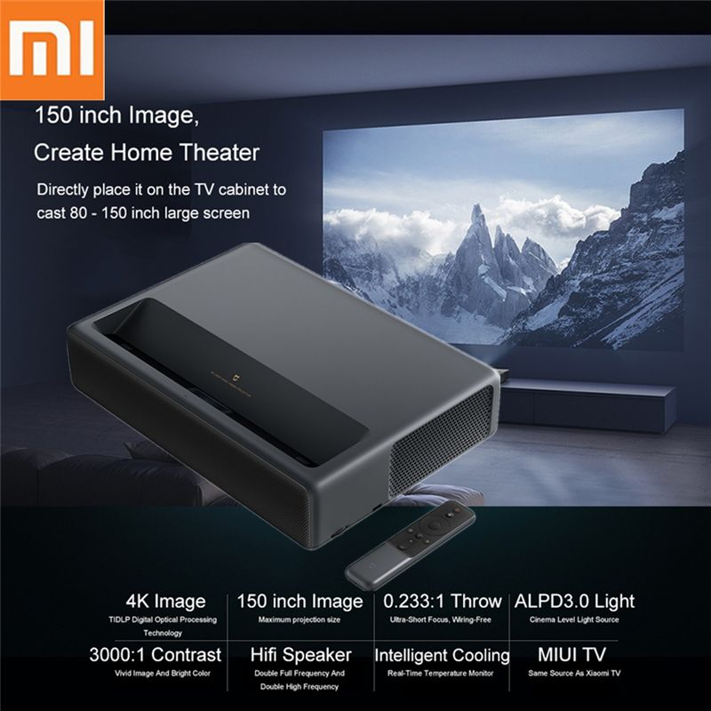 Xiaomi Mijia Laser Projektor ALPD TV 4 K 3840x2160 Proyector 2 GB DDR3 16 GB EMMC Flash 5000 lumen Bis Zu 150 Zoll Heimkino