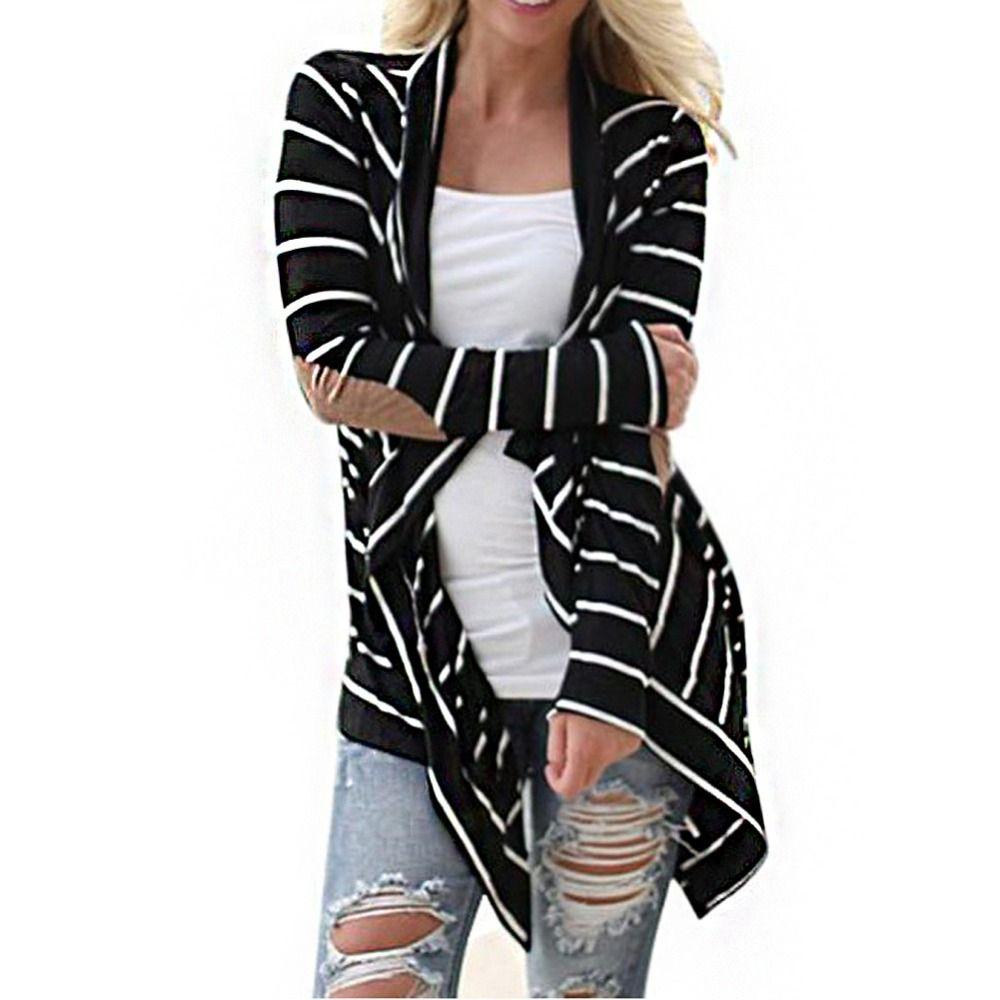 S-XL Демисезонный Для женщин кардиган в полоску верхняя одежда с длинными рукавами Повседневное свободные свитера патч