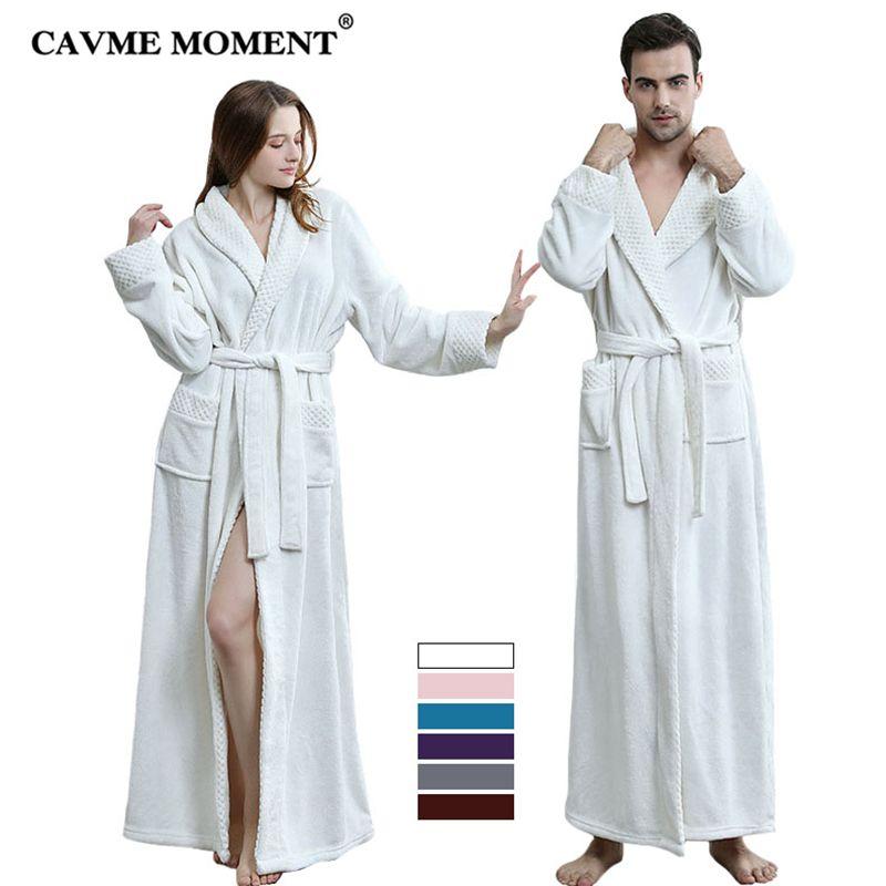 CAVME Plus Size CUSTOM Winter Flannel Bathrobe for Women Ladies Men's Long Robes Bride Bridesmaid Kimono Night Dressing Gown