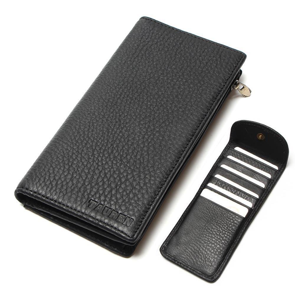 100% Real Genuine Leather Purse With Phone Bag Wallet Card Holder Black Color Men's Vintage Men Wallets