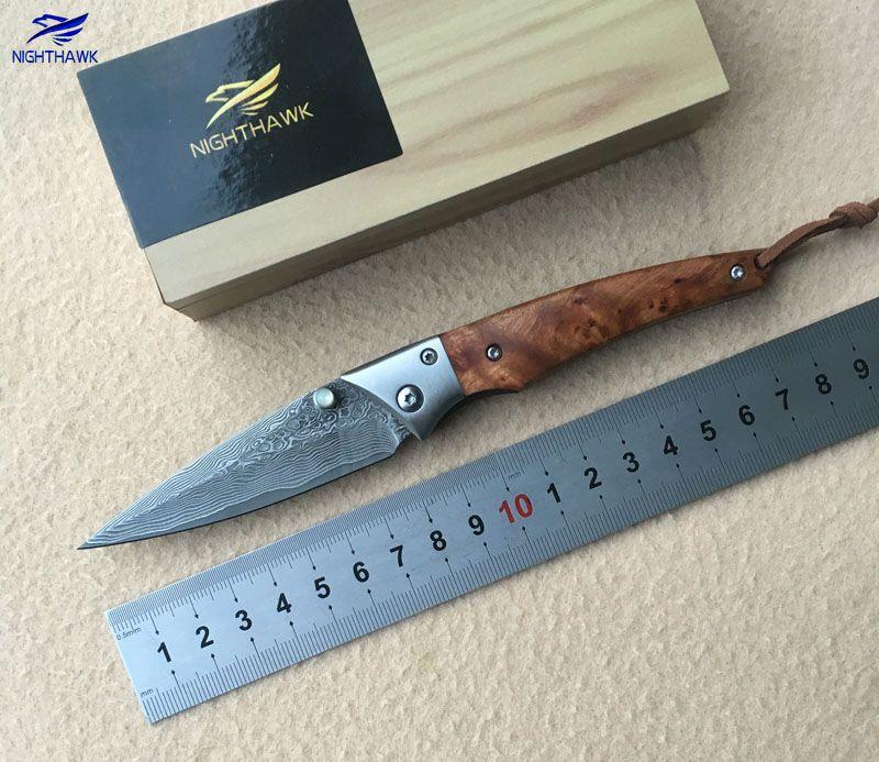 NIGHTHAWK 0132 folding knife VG10 Damascus steel blade, sandalwood + stainless steel processing camping fruit knife EDC tools