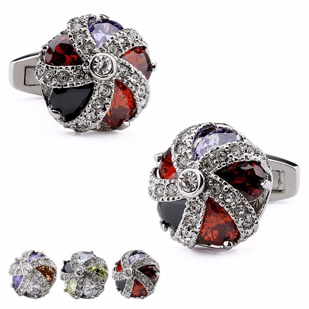 Luxury Men's Cufflinks Crystal Around Colorful Zircon Stone Shirt Buttons Fasten Cuff