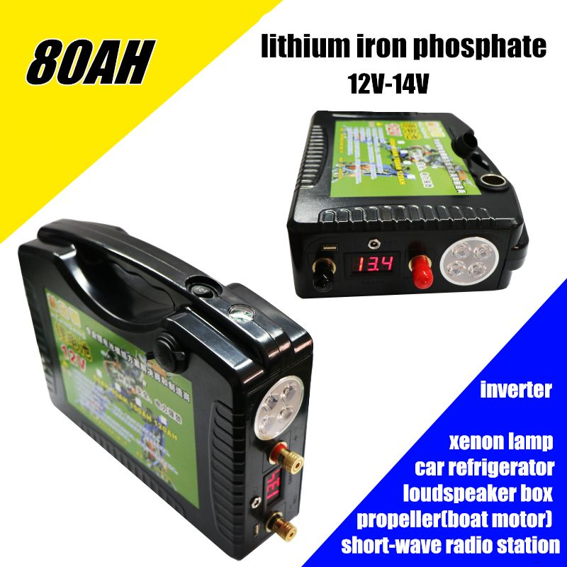 High drain 12V 14V 80AH 800WH 5v USB Lithium iron phosphate li-ion Rechargeable Batteries for outdoor emergency power bank