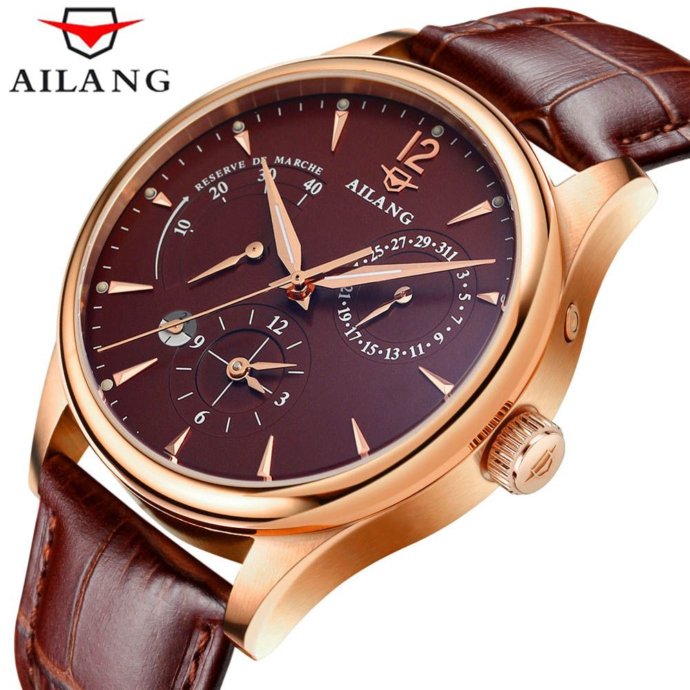 2018 AILANG energy display Men automatic mechanical Watches Luxury Brand Waterproof Watch military genuine leather strap