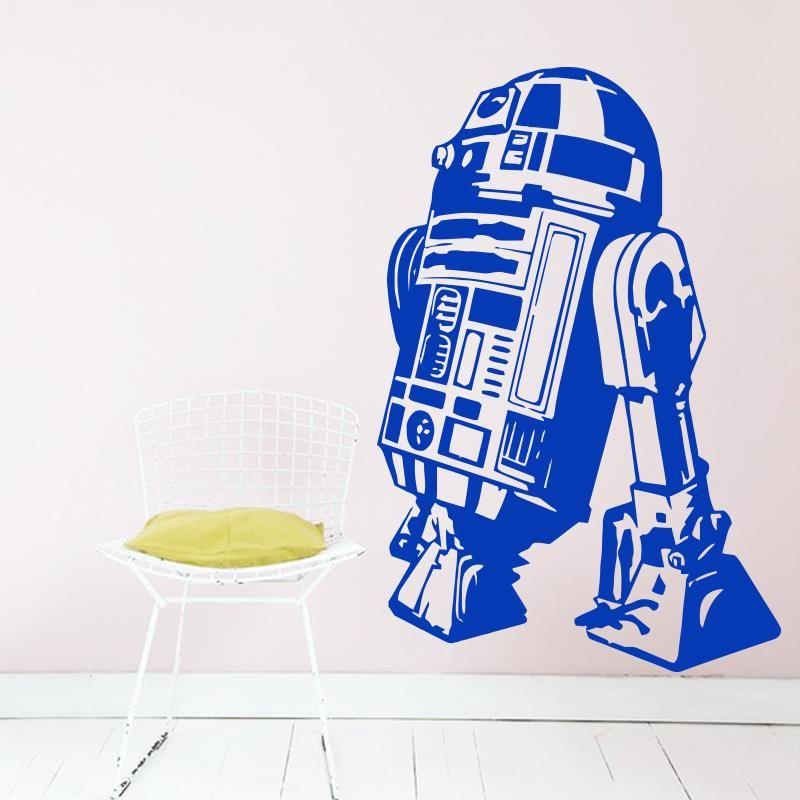 Art Design Star Wars robot Sticker Mural citation R2 D2 décalcomanie vinyle décor à la maison enfants Geek Gamer amovible Mural chambre papier peint
