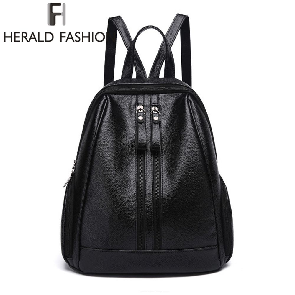 Herald Fasion PU Leather Backpacks for Adolescent Girls Zipper Backpack Female Backpack to School Notebooks Laptop College bag
