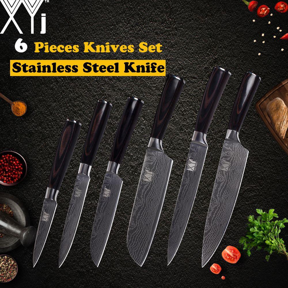 XYj Küchenmesser 7cr17 Edelstahl Sharp Damaskus Adern Klinge Farbe Holzgriff Chef Schneiden Santoku Utility Obst Messer
