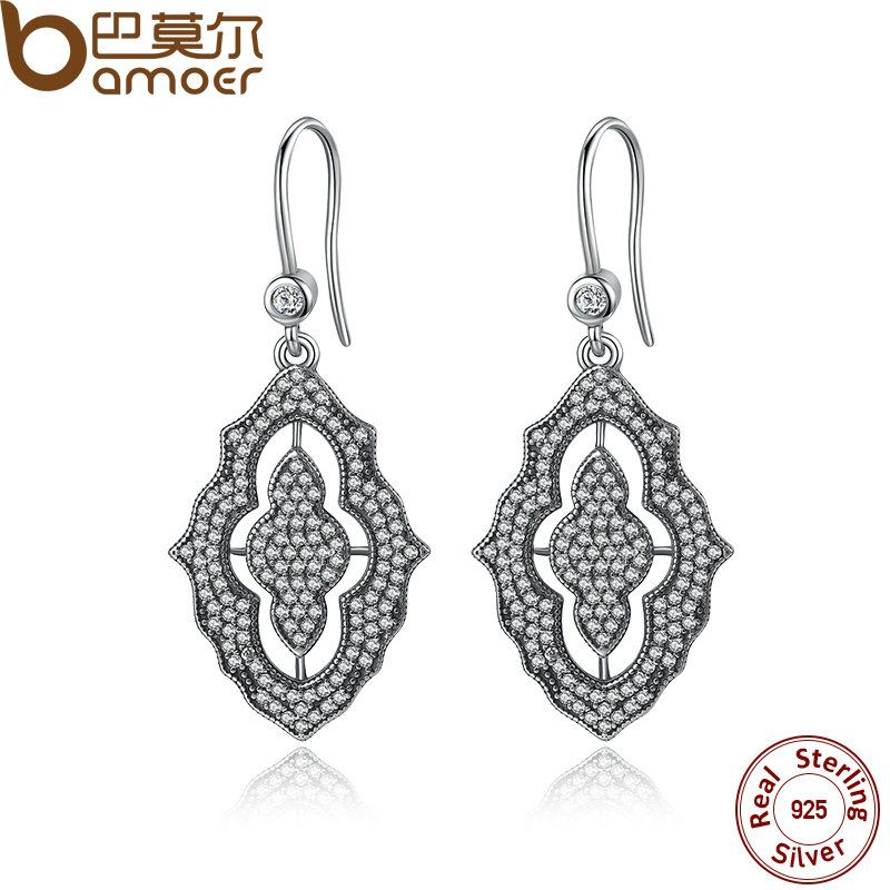 BAMOER 2017 New Arrival 100% Authentic 925 Sterling Silver Female Earrings TOP Quality Earrings Jewelry PAS425