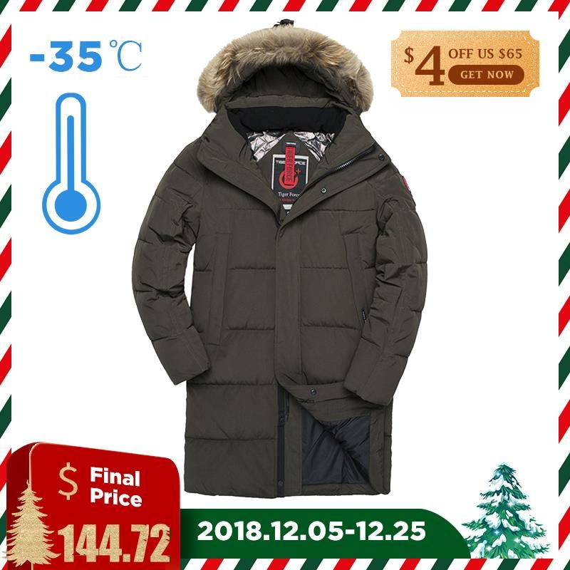 TIGER FORCE Men Winter Jacket Parka Padded Coat Detachable Hooded Men's Winter Coat Artificial Fur Big Pockets Thick Jacket