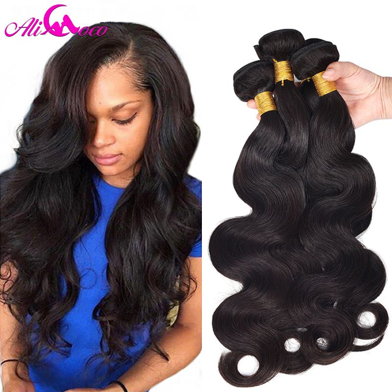 Ali Coco Brazilian Body Wave 4 Bundles Human Hair Extensions Natural color/ #2/ 1/4/27 Brazilian Hair Weave Bundles Non Remy