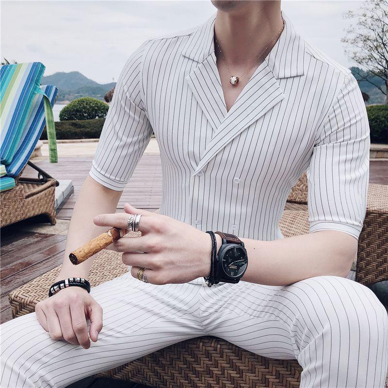 Double Breasted Suit Summer Costume Mariage Homme Black White Grey Blue Stripe Suit Set Smoking Uomo Trajes De Hombre