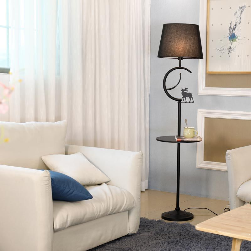 Modern Floor Lamp For Living Room Loft Standing Light Fixtrue White Fabric Lampshade Decor Home Lighting Black Iron E27 110-240V