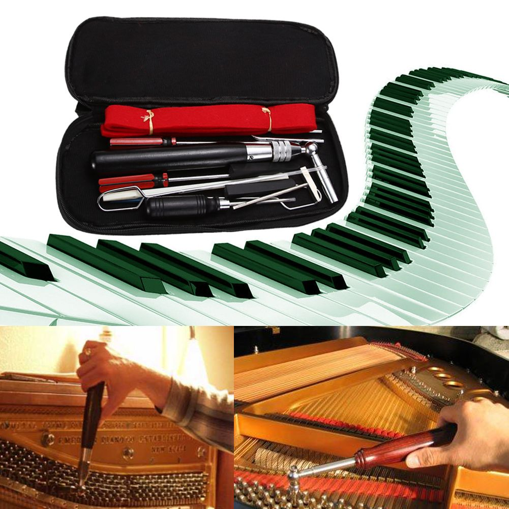 Professional 13 in 1 Piano Tuning Hammer Wool Mute Temperament Strip Awl Tools Kit A Set Tools for Piano Tuning or Repairing