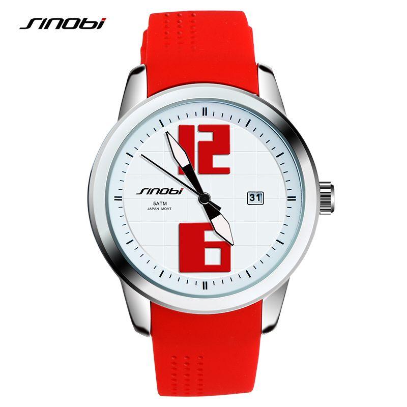 SINOBI Bracelets mode féminine genève montres-bracelets pour dames montres à Quartz sport Silicone bracelet de montre 2018 horloges colorées