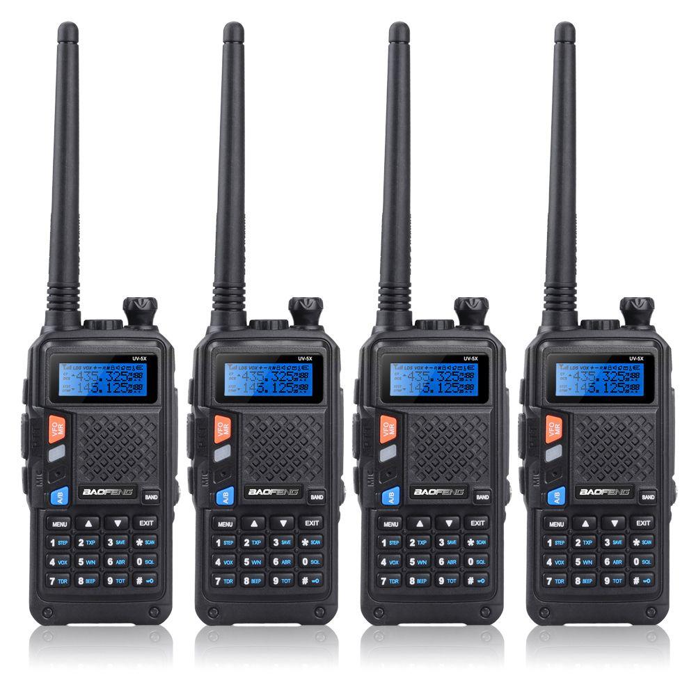 4PCS BAOFENG UV-5X UHF+VHF Dual Band/Dual Watch Two-Way Radio FM Walkie Talkie+4x Earpiece
