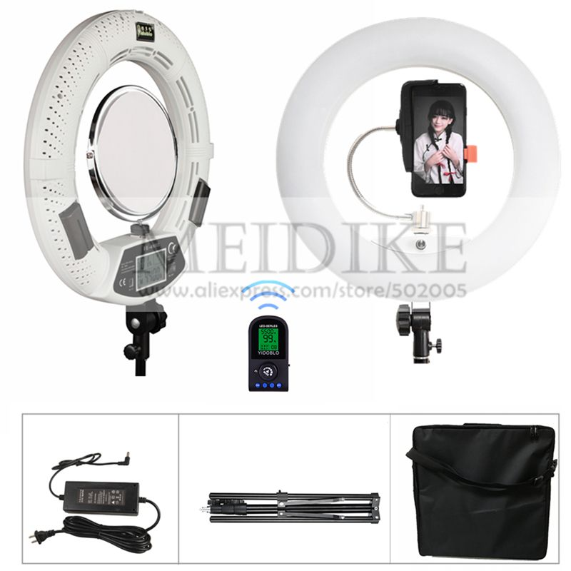 Yidoblo White FE-480II Cold & Warm Light Adjustable Ring Light Makeup Lamp Photographic broadcast Light +2M stand+ bag