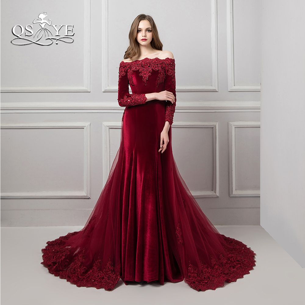 Burgundy Vestido de Festa Lace Evening Dresses 2018 Beaded Appliques Boat Neck Long Sleeve Romovable Skirt Prom Dress Party Gown