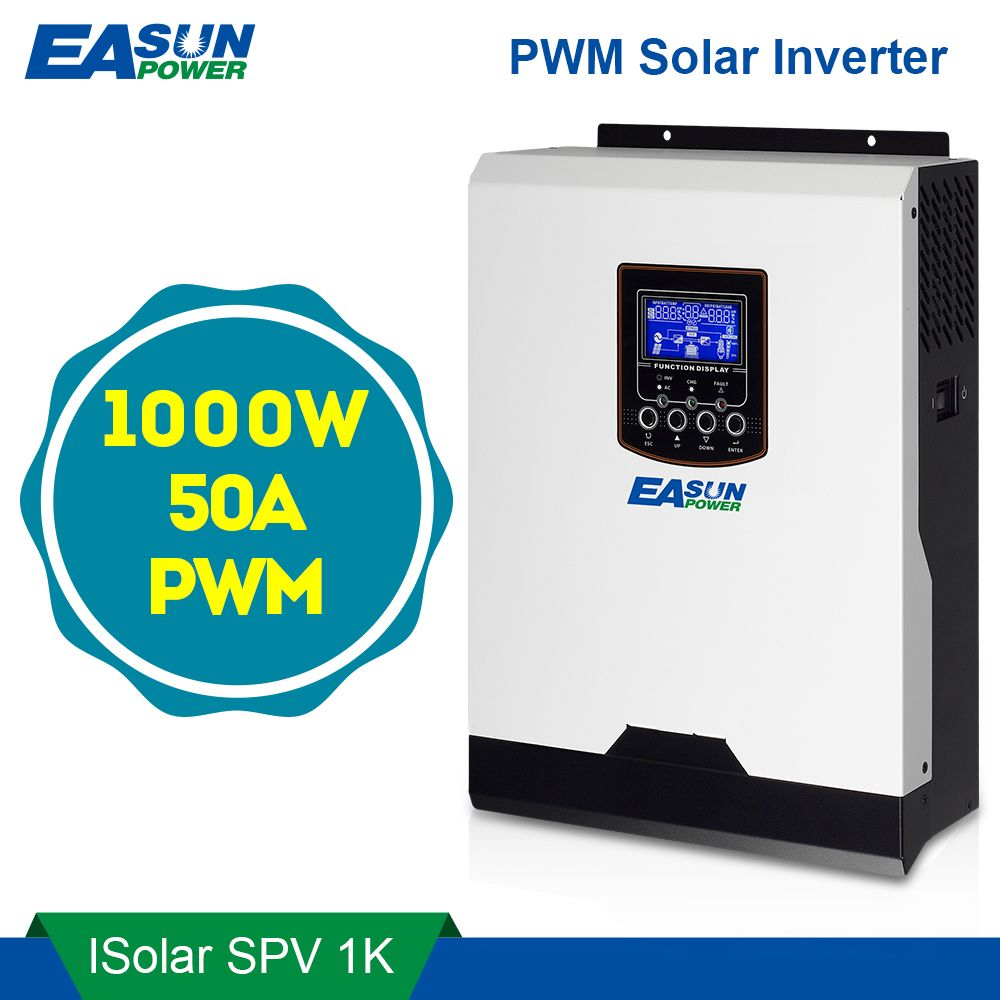 EASUN POWER Solar Inverter 1KW 12V 220V Pure Sine Wave Hybrid Inverter Built-in 50A PWM Solar Charge Controller Battery Charger