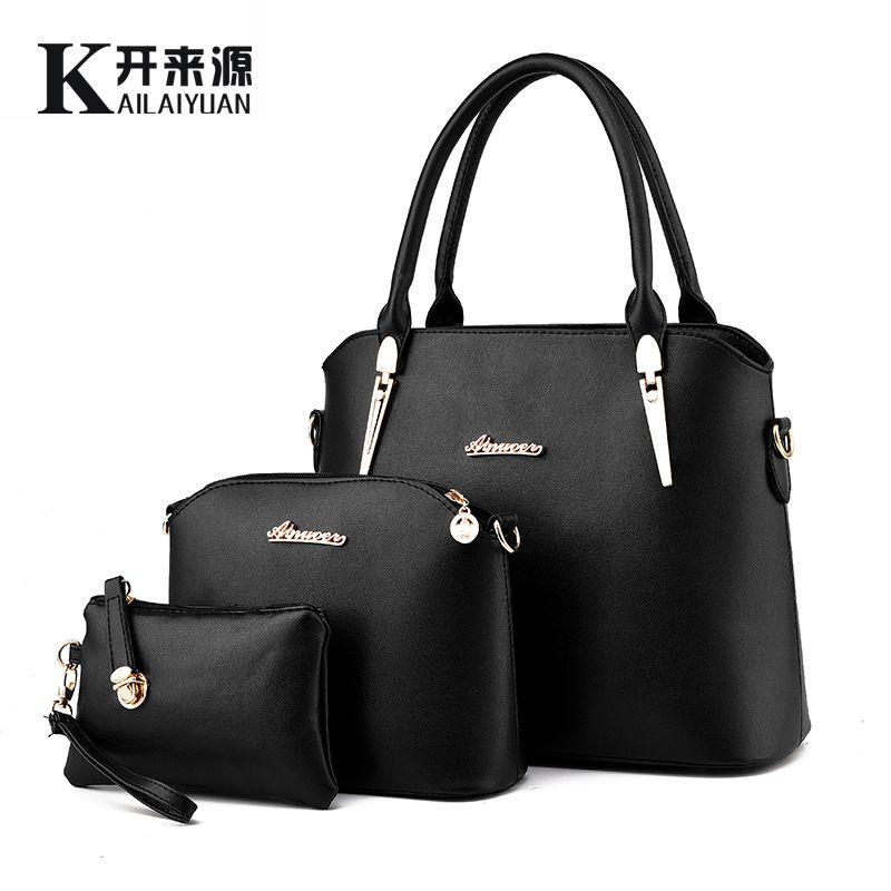 SNBS 100% Genuine leather Women handbag 2018 New Three piece type fashion Crossbody Shoulder Handbag women messenger bags