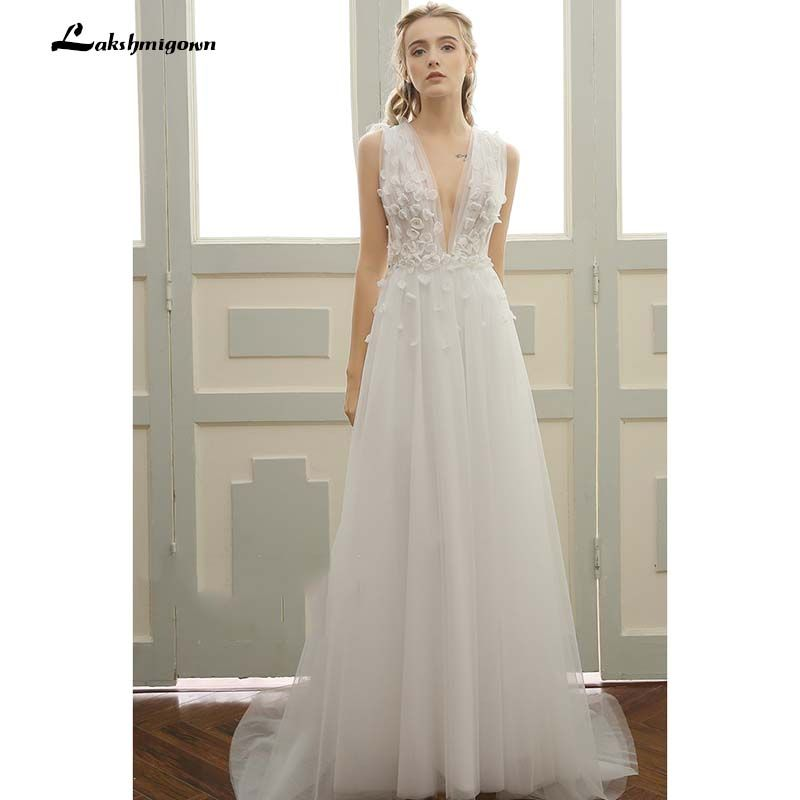 Deep V beach Wedding Dresses Vestidos de Noiva Sexy Sweep Train Summer Beach Bridal Gowns Plus Size