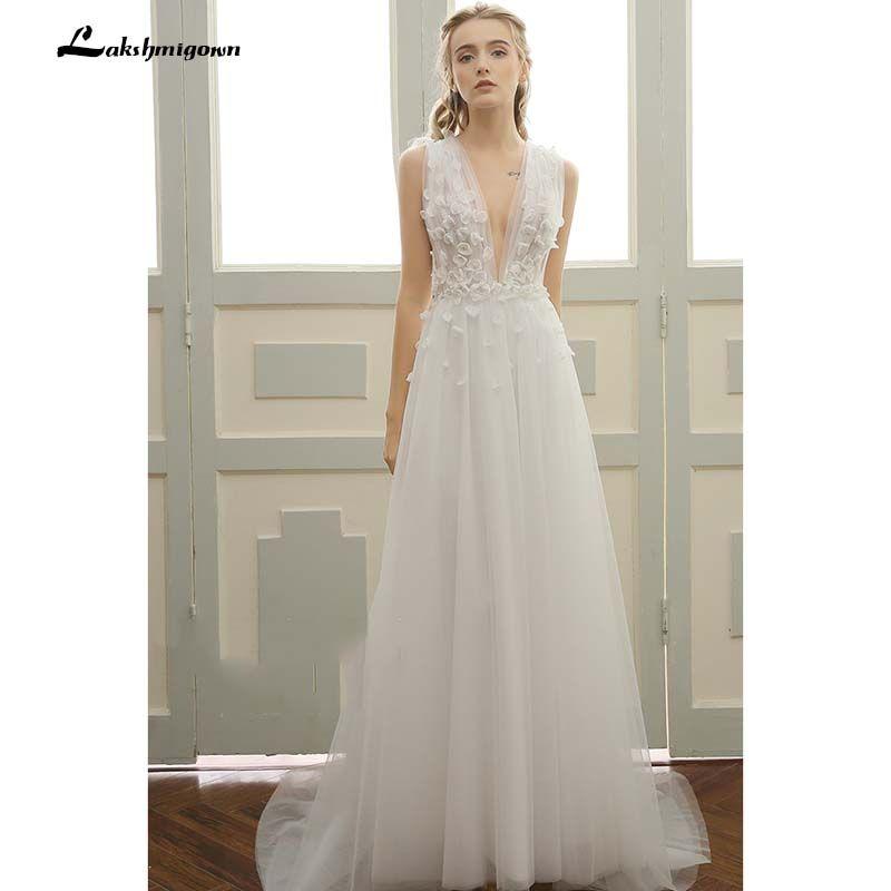 Tiefe V strand Hochzeit Kleider Vestidos de Noiva Sexy Sweep Zug Sommer Strand Brautkleider Plus Größe