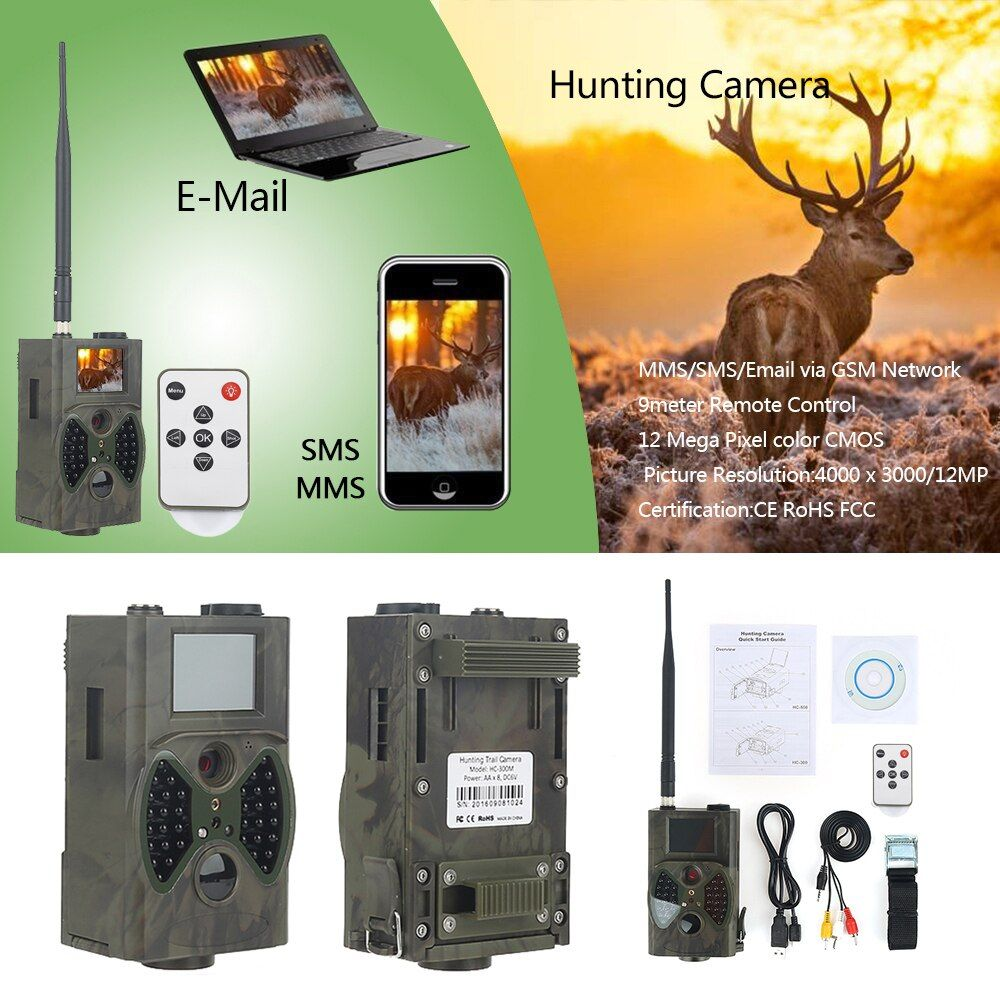 12MP Photo Traps night vision hunting camera MMS GPRS HC300M deer hunting cameras 32GB memory transfer photo traps video camera