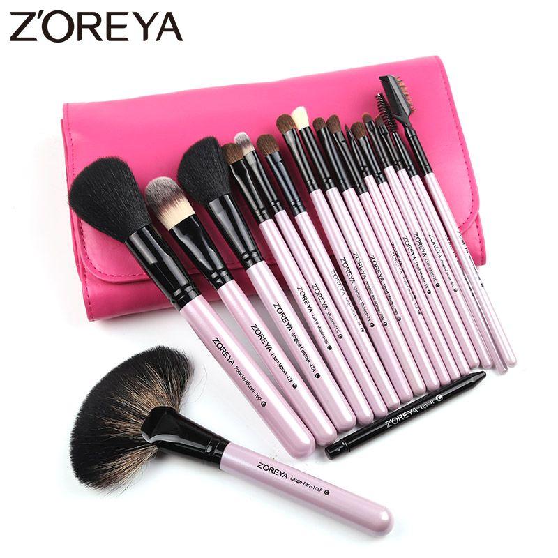 ZOREYA Brand Natural Kolinsky Hair Professional Cosmetic tool for women makeup brushes 18pieces/set maquiagem powder fan brushes