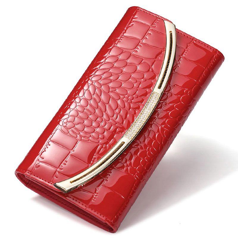 Новая мода Лакированная кожа Для женщин кошелек Роскошные крокодил Длинный Клатч кожаный Бизнес держателя карты Портмоне Бесплатная доста...