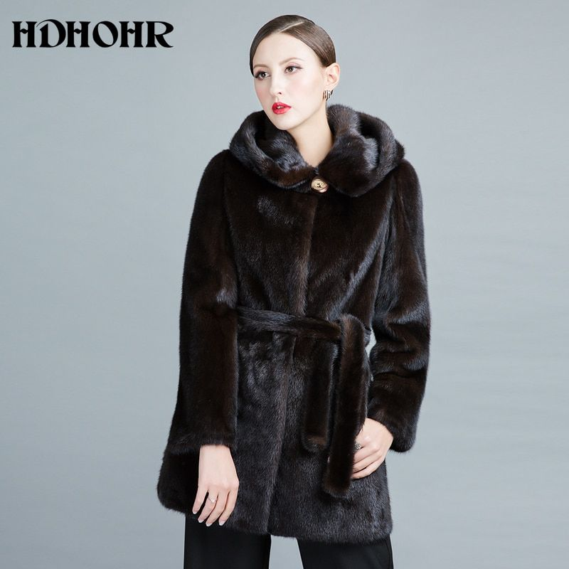 HDHOHR 2018 Real Mink Fur Coats Women New Fashion Winter Thick Warm With Hood Female Outwear Natural Fur jackets For Girls