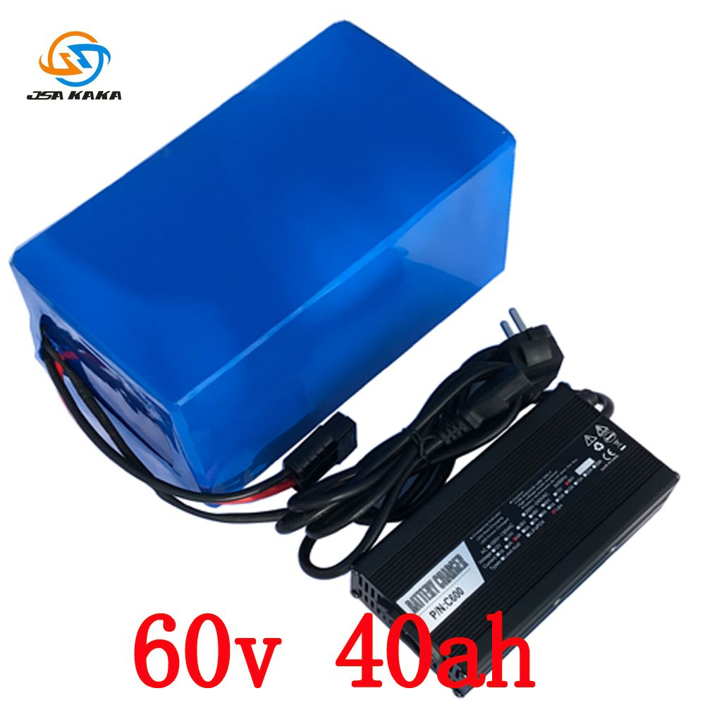 Freies gewohnheiten keine steuer 60 V Lithium-Batterie 60 V 40AH Roller Batterie 60 V 40AH 3000 W Elektrische Fahrrad batterie mit 60A BMS + 5A ladegerät